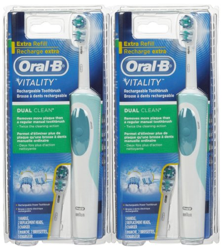 (Oral B Vitality Dual Clean Rechargeable Power Toothbrush - 2 Pack)