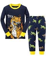綿100%男の子パジャマ上下セット 恐竜柄紺色