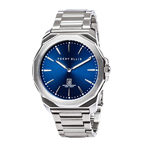 Perry Ellis Mens Watch Decagon Quartz Luminous Watch with Date Stainless Steel Band Waterproof Blue Dial Men 05002-02