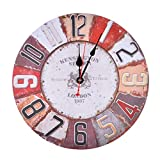 Petforu 13.5 Inch Vintage Look Silent Wall Clock Home Decoration – Type A