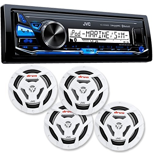 "JVC KD-X33MBS Mechless Bluetooth Marine Radio and two pairs of CS-DR6201MW 6.5"" White Marine Coaxial Speakers"