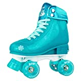 Crazy Skates Glitter POP Adjustable Roller Skates for Girls and Boys | Size Adjustable Quad Skates That Fit 4 Shoe Sizes | Teal (Sizes jr12-2)