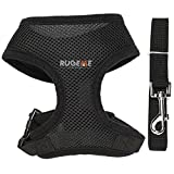 Rugeme Soft Mesh Non Pulling Puppy Harness with Leash Set (Halloween Sale) (Large, Black)