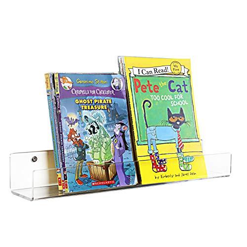Acrílico de estantería flotante Niños Invisible pared estantes para niños libro Ledge Estantería de almacenamiento con...