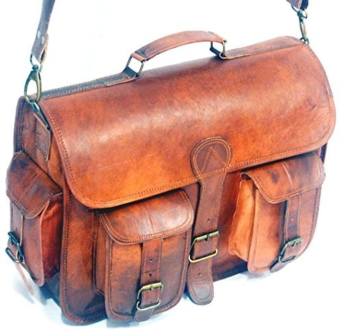 Goatstuff Vintage Style Real Leather Messenger / Breifcase / Camera Case - Number Priority Tracking Fedex