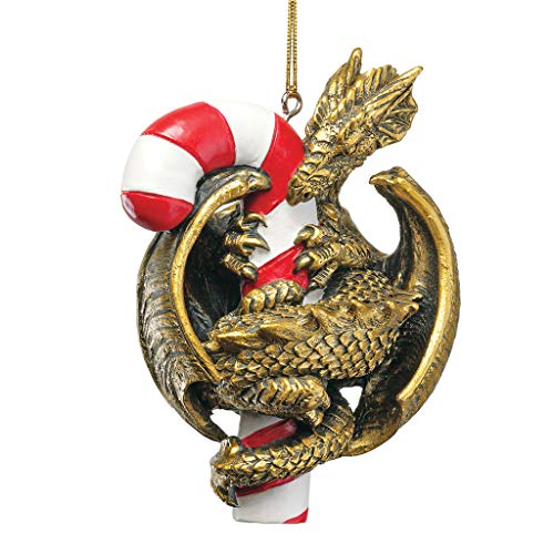 Design Toscano Gothic Dragon with a Candy Cane Sweet Tooth Christmas Tree Ornament, 4 Inch, Single ()