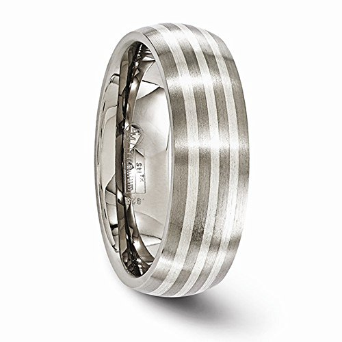 Edward Mirell Titanium with Sterling Silver Inlay 7mm Wedding Band - Size 12.5