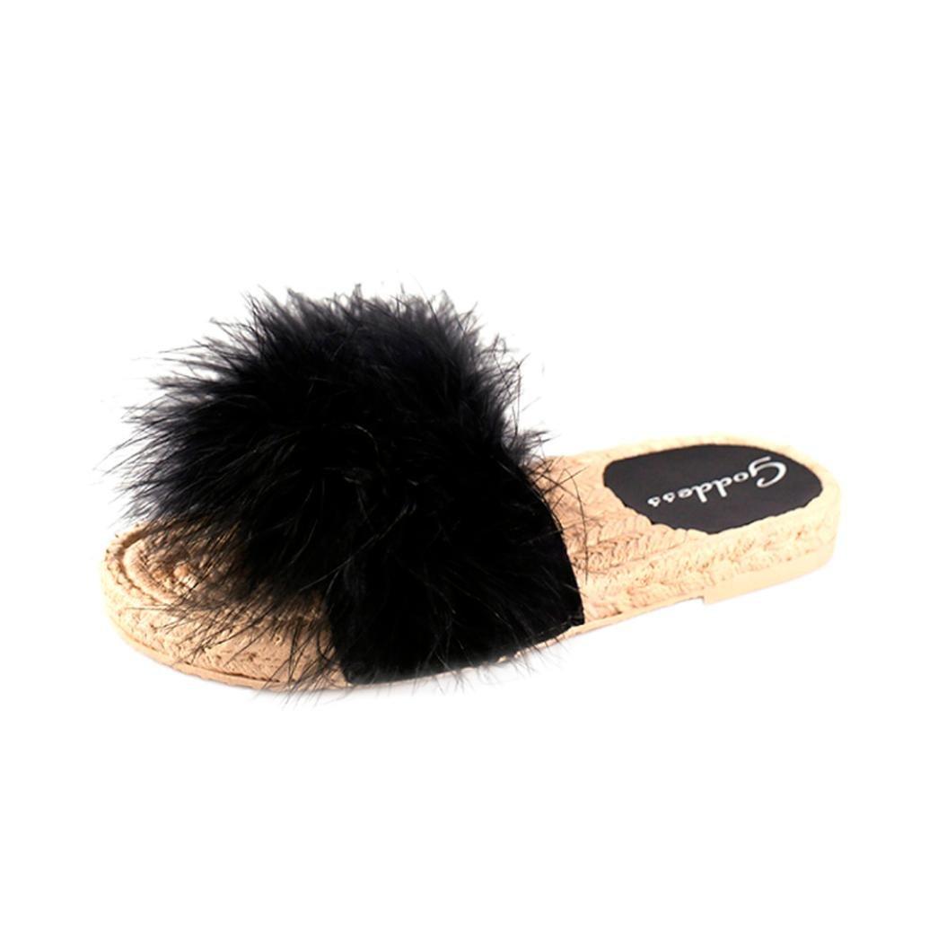 Ningsun Donne Moda Hairball Interno All'aperto Hairball Tacco Piatto Sandali Pantofola Scarpe da Spiaggia/Eleganti Spiaggia Casuale Colore Caramella Dolce Sandals Shoes Ciabatte Nero