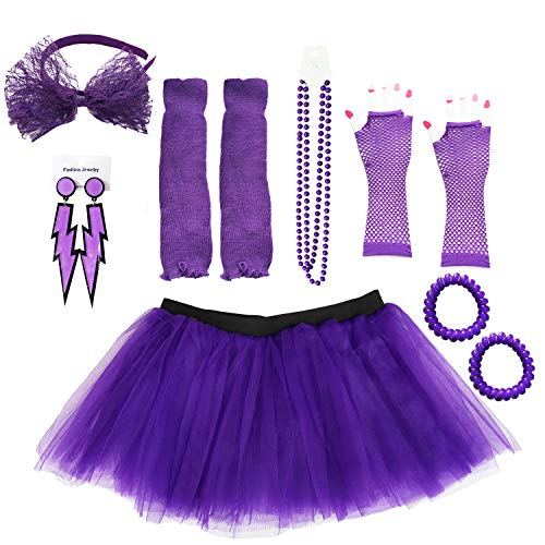 Dreamdanceworks Purple Tutu 80's Dance Costumes for Women Halloween Accessories (Purple with Headband)