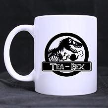 Popular Funny Dinosaur Print Coffee Mug - Tea Rex Theme Coffee Mug or Tea Cup,Ceramic Material Mugs,White - 11 oz