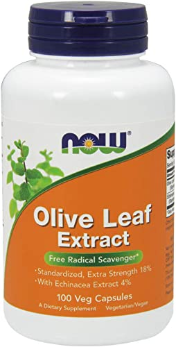 NOW Supplements, Olive Leaf Extract with Echinacea Extract 4 , Extra Strength, Free Radical Scavenger*, 100 Veg Capsules