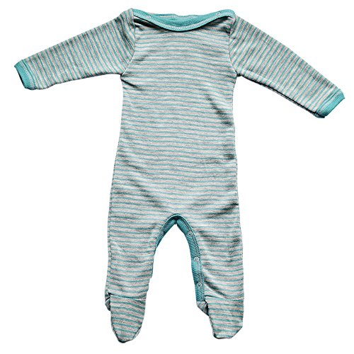 Baby Footed Romper Overall w/ Long Sleeves, Organic Merino Wool and Silk (62-68cm/3-6months, Teal)