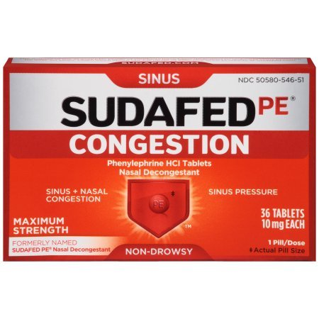 Sudafed PE Congestion and Sinus Relief, Maximum Strength, 36 Count (Pack of 5)