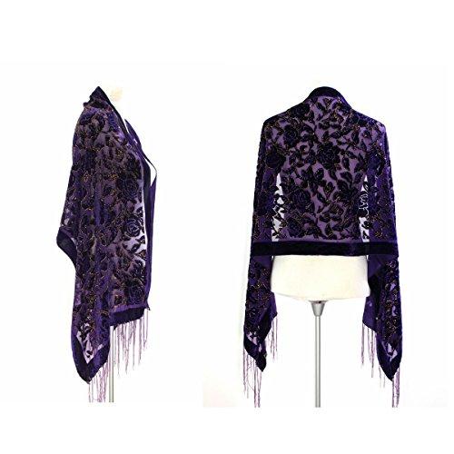 Velvet Beaded Scarf (New Elegant Gorgeous Pure Purple Color Vintage Floral Beaded Silk Burnout Velvet Shawl Wrap)