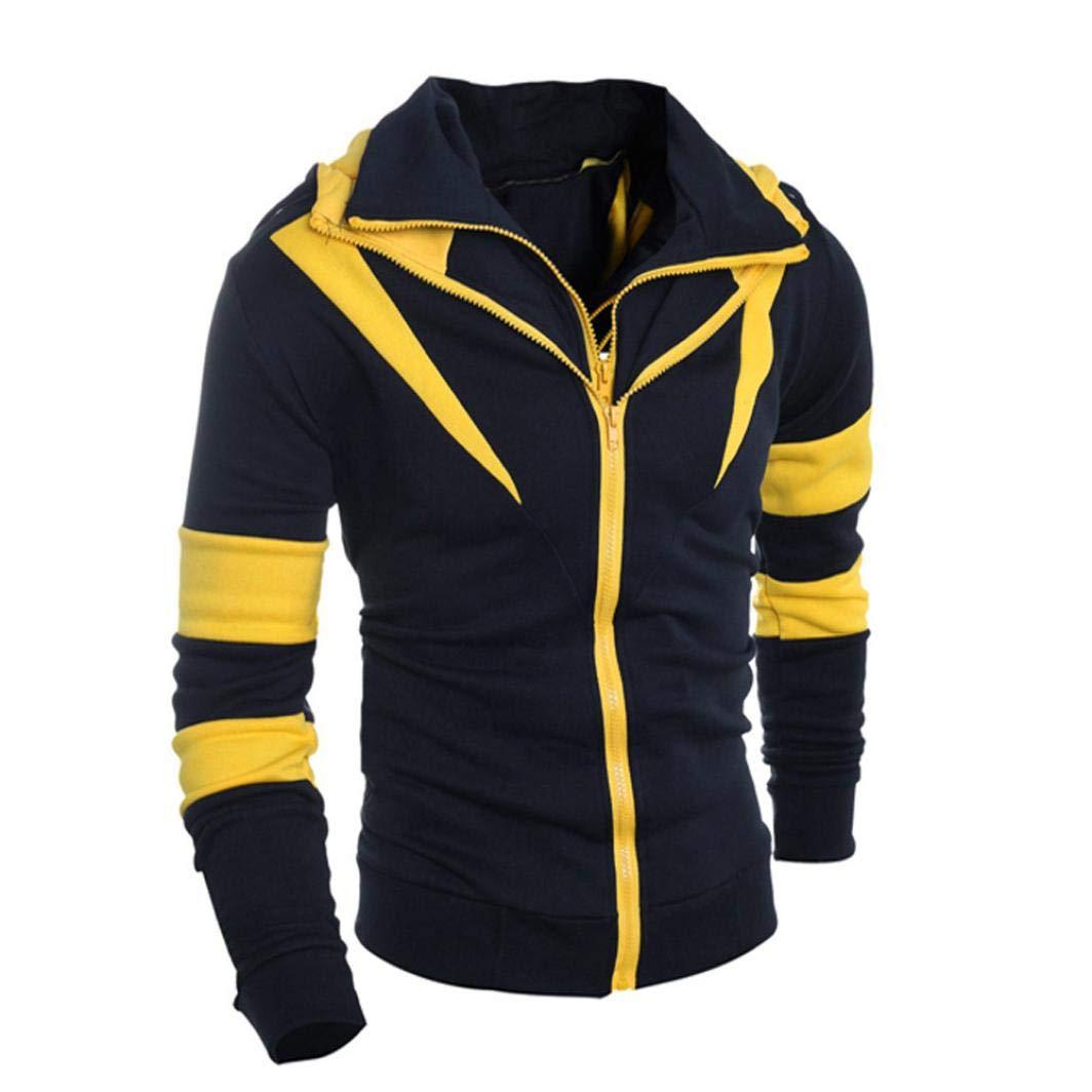 Danhjin Retro Long Sleeve Hoodie Hooded Patchwork Sweatshirt Tops Men Jacket Coat Outwear Outdoor Pullover (Yellow, XXL) by Danhjin (Image #2)