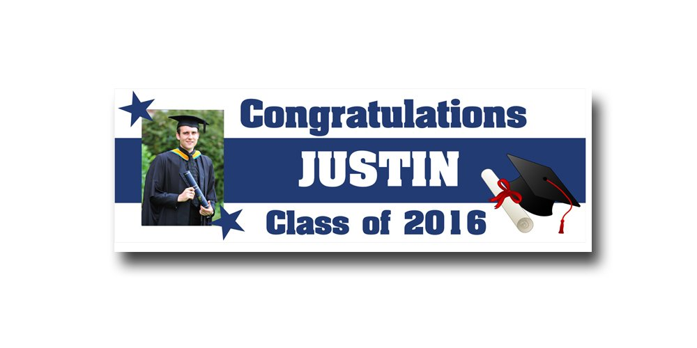 College Graduation Banner Party Supplies Decoration 2ftx6ft Vinyl banner Graduation gift 2016 celebration high school College by Michael D Inc. (Image #1)