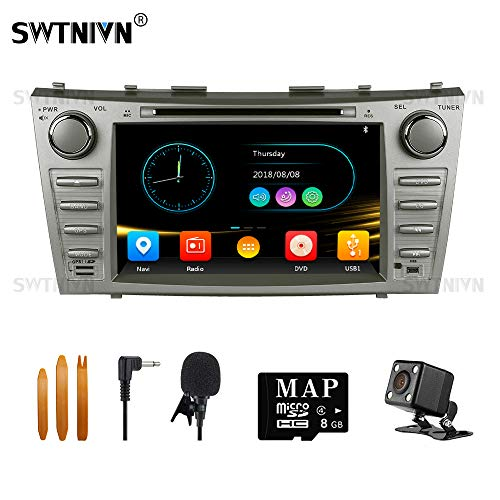 SWTNVIN Car Stereo for 2007 2008 2009 2010 2011 Toyota Camry,Double Din 8 Inch in Dash Car Radio Support Navigation Bluetooth Audio DVD Play,Free Map Card & Backup Camera & Microphone (Wince 6.0)