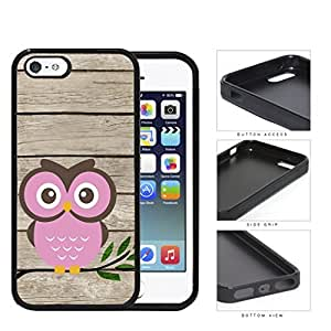 Pink Owl On Tree Branch With Wood Pattern iPhone 5 5s Rubber Silicone TPU Cell Phone Case