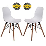 OTTITI Mid Century Modern Dining Room Chairs - Eames Style DSW Side Chair with Tufted Wooden Leg and Upgraded Base, White, Set of 2