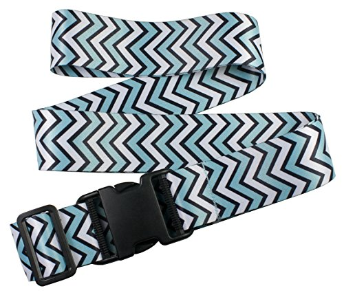 Price comparison product image 1 Pc Mint Chevron Oliveland Adjustable Luggage Straps Suitcase Belt up to 75.5 Inches (1pcbluechevron)