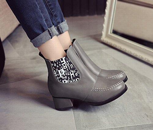 Lettere Di Moda Delle Donne Latasa Stampato Tacchi Chunky Alla Caviglia Stivali Chelsea Grigi