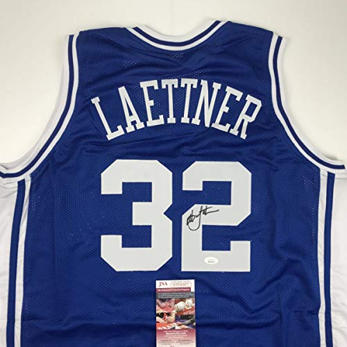 Autographed/Signed Christian Laettner Duke The Shot Blue College Basketball Jersey JSA COA