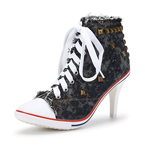 Women's Rivet Canvas Lace Up High Heel Fashion Sneakers Ankle Boots Black Label 38 - US 7