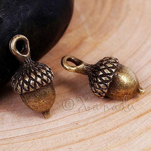 OutletBestSelling Pendants Beads Bracelet Acorn Charms 18mm - Antiqued Bronze Autumn 10pcs