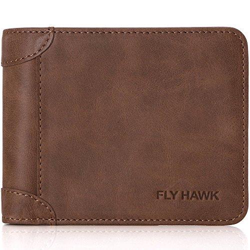 FlyHawk Best Credit Card Wallet for Men, Slim and Thin Italian Genuine Leather Wallets Coffee Horizontal Wallets