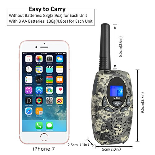 2 Way Radios Camping Accessories, Topsung M880 FRS Walkie Talkie for Adults Long Range with Mic LCD Screen / Portable Wakie-Talkie with 22 Channel for Children Hiking Hunting Fishing (Camo 2 Pack) by Topsung (Image #3)
