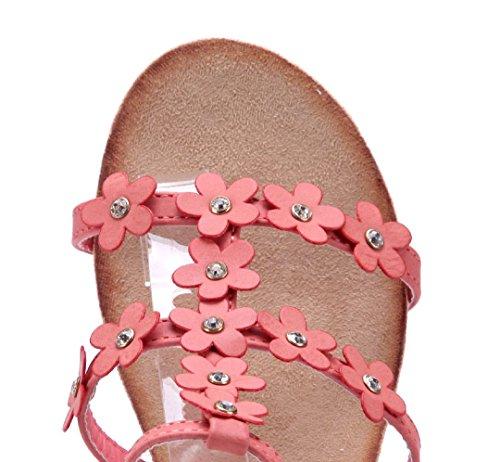 Schuhtempel24 Damen Schuhe Keilsandaletten Sandalen Sandaletten Keilabsatz Blumenapplikation/Ziersteine 6 cm Rot