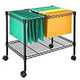 SortWise Single-Tier Rolling File Cart, Mobile File Cart for for Letter Size and Legal Size Folder, Sturdy Storage Shelf, Black