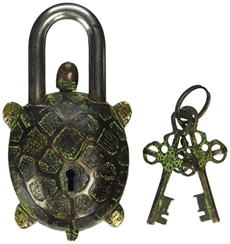 Solid Brass Natural (AVS STORE Turtle Monastery Lock - Solid Brass with Natural Patina in a Beautifully Ornate Padlock. Ornamental Antique Handcrafted Locks for Security and Style)