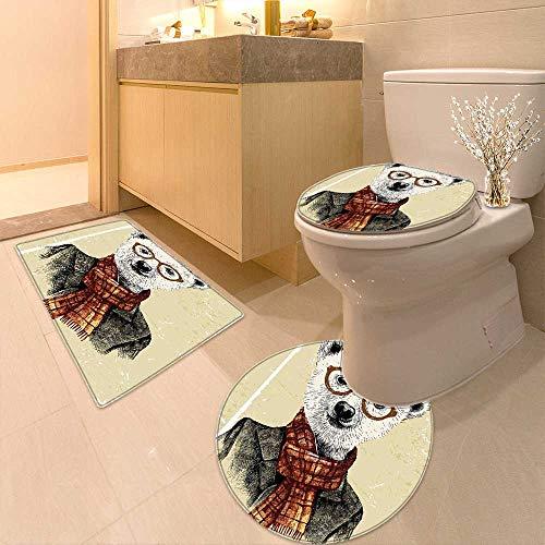 (Printsonne Bathroom Household Rug Bear with Glasses Scarf Jacket Wild Mammal Humorous Artwork Cream Dark Orange Black Non Slip Comfortable SND Soft)