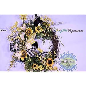 Sunflower Wreath, Summer Door Decor, Bumble Bee Decorations, Buffalo Plaid Farmhouse Wall Decor, Forsythia Floral, Grapevine Base, Spring 1