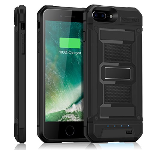 iPhone 8 Plus / 7 Plus Battery Case YISHDA 4200mAh Slim Extended Battery Armor Charging Case for iPhone 8 Plus 7 Plus External Battery Juice Pack - Black [Also Compatible iPhone 6S Plus / 6 Plus]