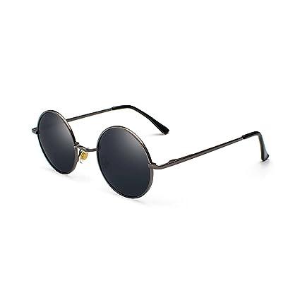 HUACANG Lennon Gafas de Sol polarizadas. Gafas de Sol Redondas del Marco metálico de Las