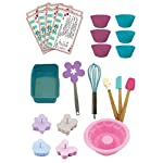 Handstand Kitchen Bake Shoppe 25-piece Deluxe Real Baking Set with Recipes for Kids 5 You will quickly decide that cookies and milk are even more fun when you've made your snack with the help of your kids and this Deluxe Baking Set Complete 25 piece set includes everything you need to bake everything from cookies to cupcakes to quick breads with your children Includes 1 spatula, 1 pastry brush, 1 mixing spoon, 1 silicone bundt cake mold, 1 silicone loaf pan, 6 silicone baking cups, 1 flower shaped cookie turner, 1 whisk, 4 cookie press molds and 8 recipe cards