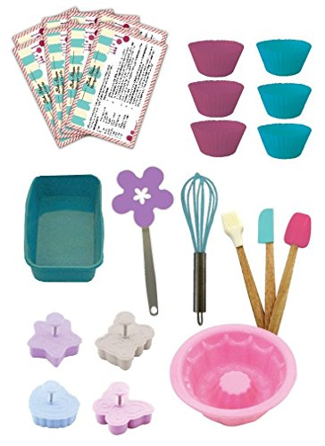 Handstand Kitchen Bake Shoppe 25-piece Deluxe Real Baking Set with Recipes for Kids 2 You will quickly decide that cookies and milk are even more fun when you've made your snack with the help of your kids and this Deluxe Baking Set Complete 25 piece set includes everything you need to bake everything from cookies to cupcakes to quick breads with your children Includes 1 spatula, 1 pastry brush, 1 mixing spoon, 1 silicone bundt cake mold, 1 silicone loaf pan, 6 silicone baking cups, 1 flower shaped cookie turner, 1 whisk, 4 cookie press molds and 8 recipe cards