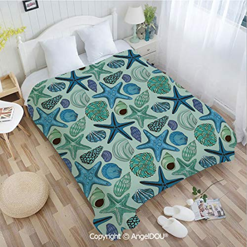 (AngelDOU Printed Super Soft Warm Bed Throw Blanket W72 xL78 Aquarium Inspired Composition Tropical Seashells Scallops Cockles Clams Decorative for Women Men Girls Kids Pet.)