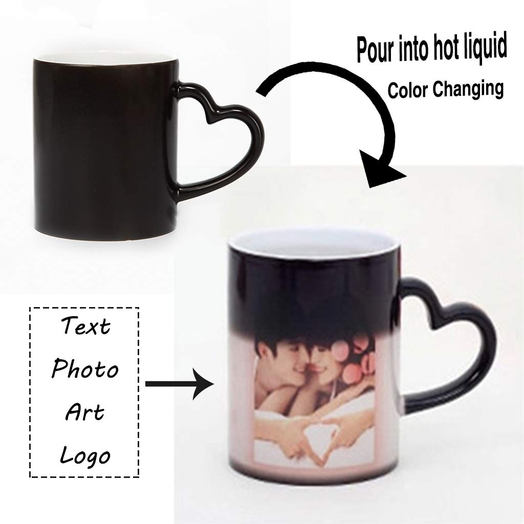 Personalized DIY Print Ceramic Hot Heat Sensitive Cup Birthday Christmas Gift Add YOUR PHOTO/&TEXT Magic Custom Color Changing Coffee Mug Cup