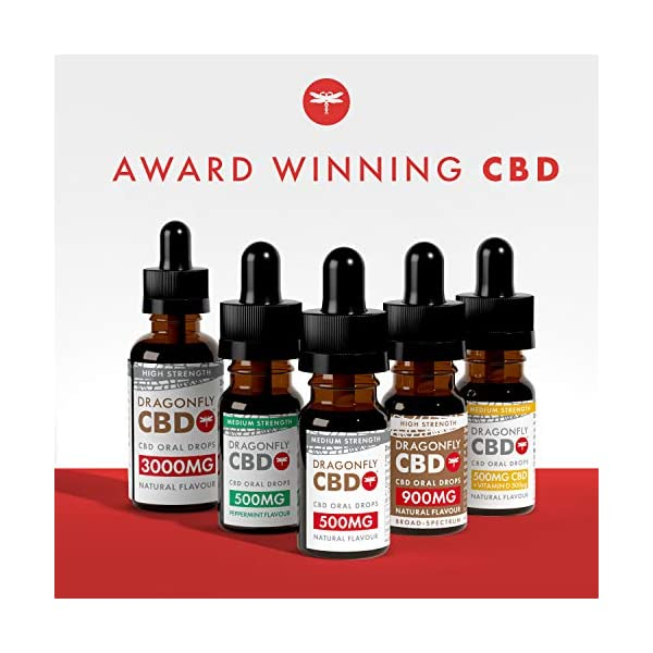 Dragonfly CBD Broad Spectrum High Strength CBD Oil Oral Drops, 900 mg, 10 ml, Natural Flavour | Entourage of Terpenes | Blended With Hemp Oil | Organically Grown | THC Free