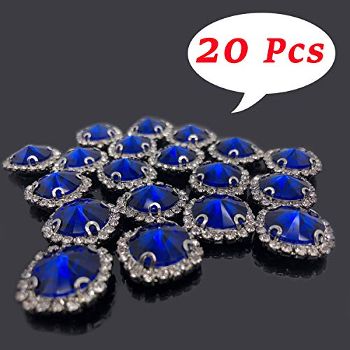 Flat Back Rhinestones Buttons Embellishments with Diamond, Sew On Crystals Glass Rhinestone for Clothing Wedding Bouquet(20pcs) Royal Blue ()