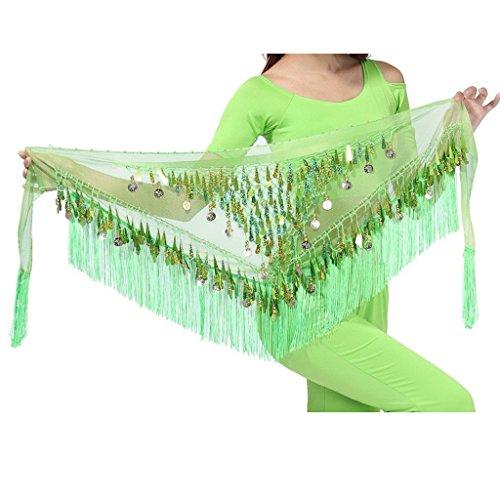 MUNAFIE Belly Dancing Belt Colorful Waist Chain Belly Dance Hip Scarf Belt Triangle Skirt (Green) (Dance Scarf Green Hip Belly)