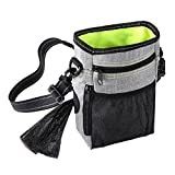 PEDY Dog Treat Training Pouch, Hands-Free Pet Dog Training Bag with Waste Bags Dispenser, Large Capacity Dog Snack Bag with Adjustable Strap Carries Dog Toys, Kibble, Keys