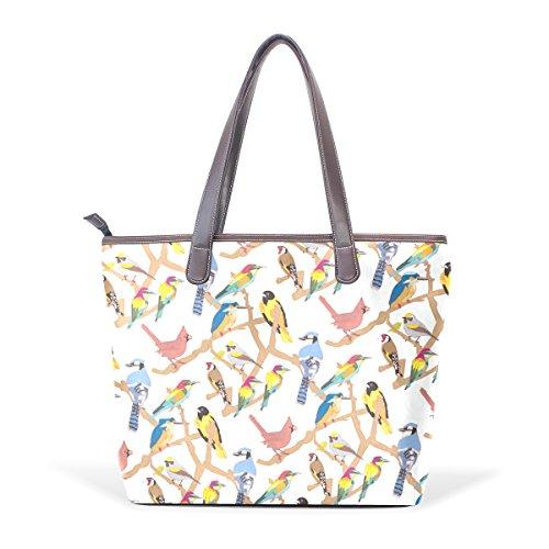 Bolso Pu Grande La Asa De Bolsa 33x45x13 Mujer Muticolour Para L Modelo Asas Cuero Pájaros Cm Coosun ARxd7qA