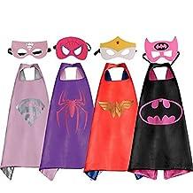 LansKids Comics Cartoon Heros Dress Up Costumes 4 Satin Capes with Felt Masks For Girls 4pcs