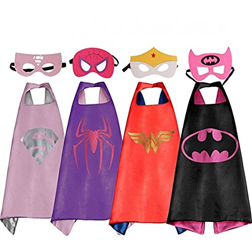 LansKids Comics Cartoon Heros Dress Up Costumes 4 Satin Capes with Felt Masks For Girls (Superhero Costumes Age 1-2)