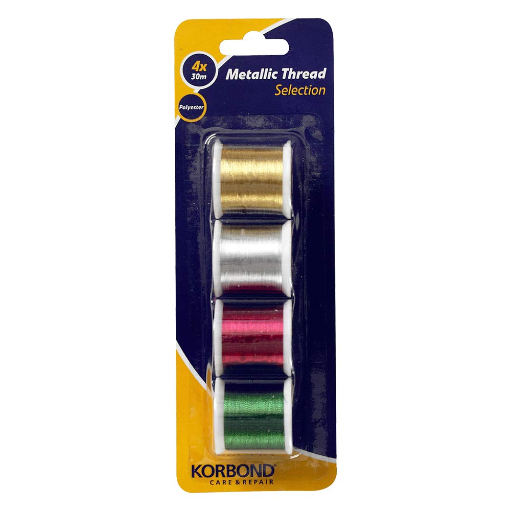 Korbond 4pcs Metalic Set-120m Thread – 4 x 30m Spools – Red, Green, Silver, Gold-Ideal for Embroidery, Hand, Quilting, Machine, Sewing, Christmas Decorations, Polyester, 120m