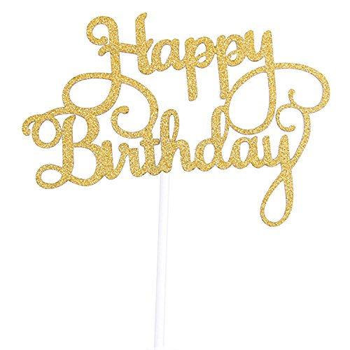 Cake Topper Happy Birthday Gold Glitter 300g Paper Laser Cut Cupcake Highest Quality Party Decoration